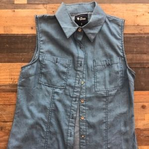 Denim like button up top
